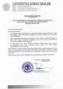 Salinan SE Rektor UAD tentang pembatalan wisuda Maret.