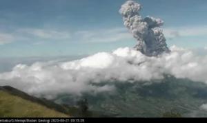 Tampilan visual letusan Merapi pada 21 Juni 2020 terpantau dari  Sta Merbabu