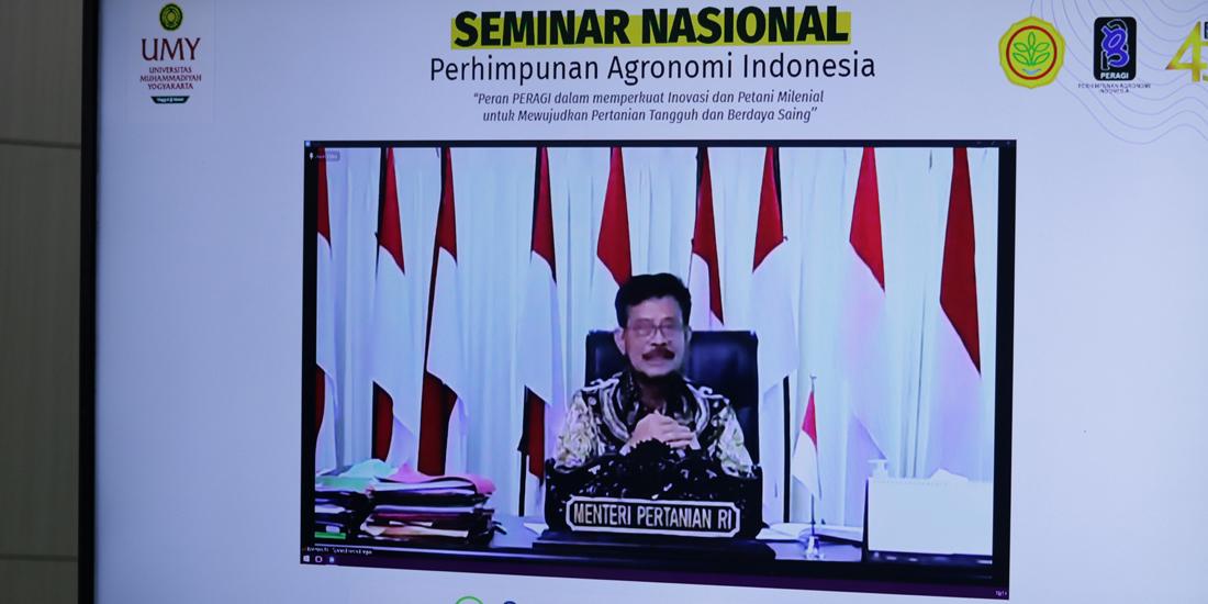 Menteri Pertanian Republik Indonesia Dr H Syahrul Yasin Limpo SH MH saat membuka Seminar Nasional Peragi